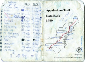 !st Journal Entry - Open book with Appalachian Trail map