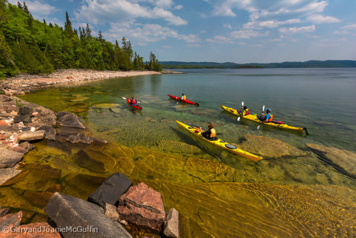 4 Kayaks by the shores of Lake Superior