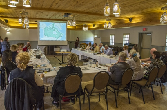 Joanie McGuffin presenting the TCT Lake Superior Water Trail to the Trans Canada Trail National Board meeting June 18 at Fort William in Thunder Bay