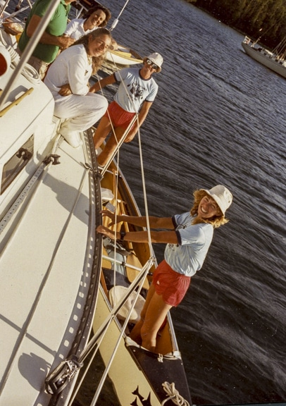 The McGuffins meeting Audrey and Wayne Lee in 1983 while crossing Canada by canoe