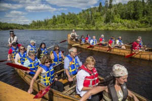 The McGuffins participate in the TCT voyageur canoe send-off for Path of the Paddle ambassadors Paul and Hadley