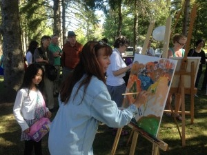 Joanie participating i the art battle at the McMichael's Gallery
