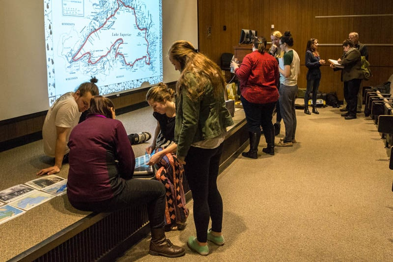 "Following a lecture ""Saving Wilderness Through Art, Adventure and Conservation"", the McGuffins talk with Professor Bille Wickre's art history students and Professor Douglas White's environment and ecology students."